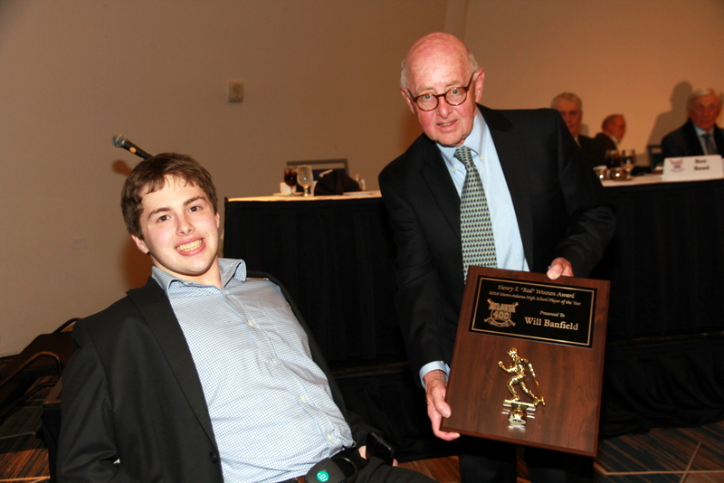 Jacob Oldknow accepts High School Player of the Year Award for Will Banfield